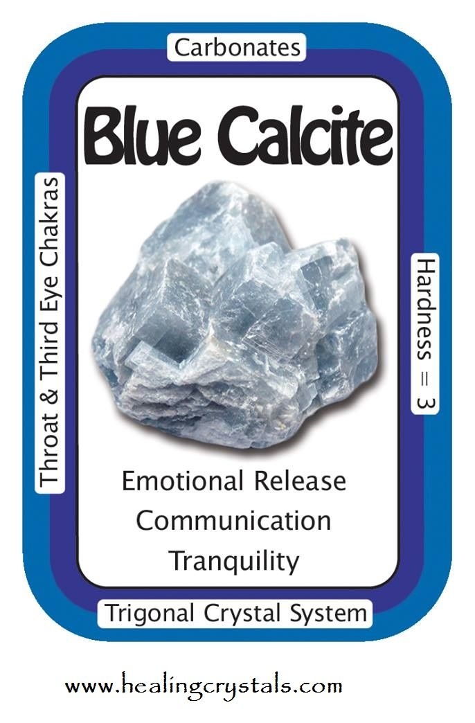 "Blue Calcite, ""I am connected to a calming universal energy.""  Calming Blue…"