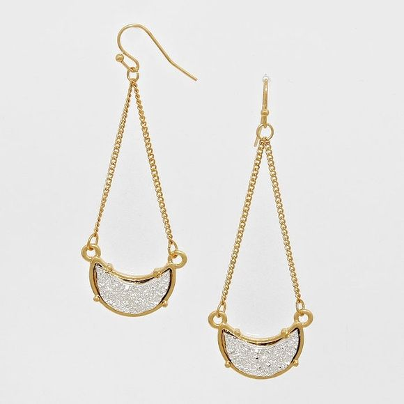 Crescent druzy stone dangle earrings Gorgeous gold colored earrings-  *please understand that this is retail meaning I had to purchase from a wholesaler so the current price is the only way I will make a profit - price is firm - thank you for your support ❤️ Jewelry Earrings