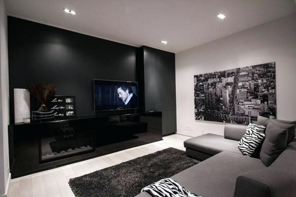 Dark Gray Living Room Design Ideas Luxury Accent Black And Gray