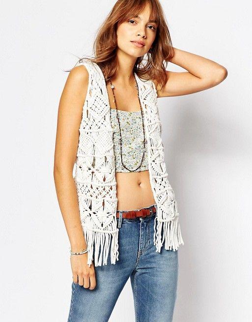 Pepe Jeans | Pepe Jeans Fringe Crochet Knit Waistcoat