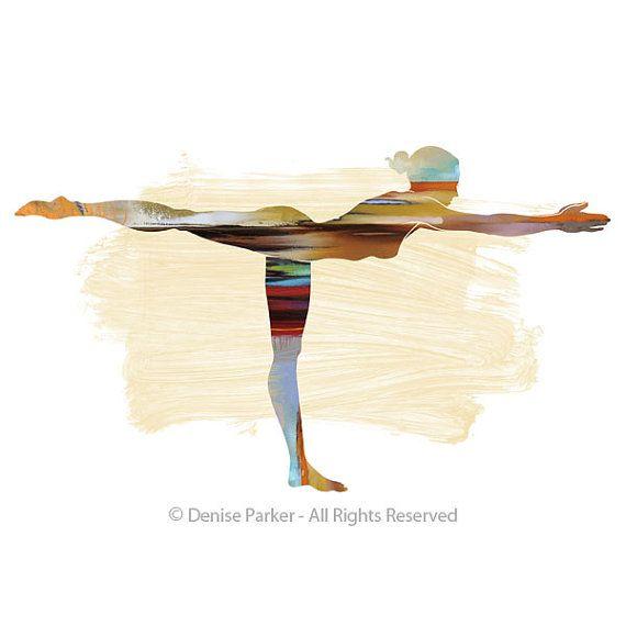 """Yoga """"Warrior Pose III""""-Sun Colors, SMALL, Yoga Wall Art,Yoga Gifts, Yoga Prints, Yoga Studio Decor, Yoga Poster, Yoga Studio Art, Yoga Art"""