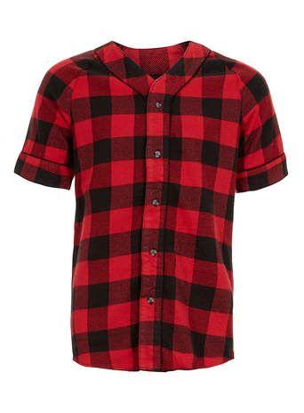 Red Buffalo Check Baseball short sleeve Shirt