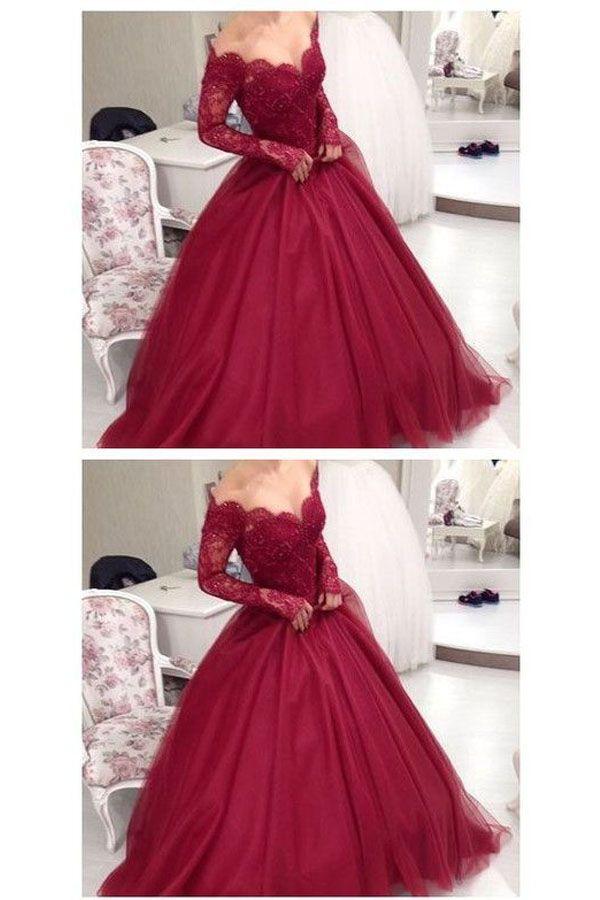 Elegantes Burgunder-Hochzeitskleid, weg von der Schulter Abendkleid, formelles Kleid aus Spitze TP0175