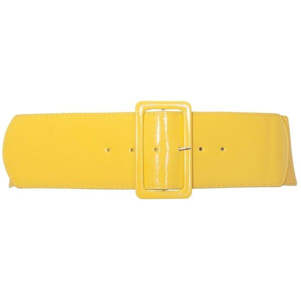 eVogues Women's Wide Patent Leather Fashion Belt ($14) ❤ liked on Polyvore featuring accessories, belts, yellow belt, wide belts and wide yellow belt
