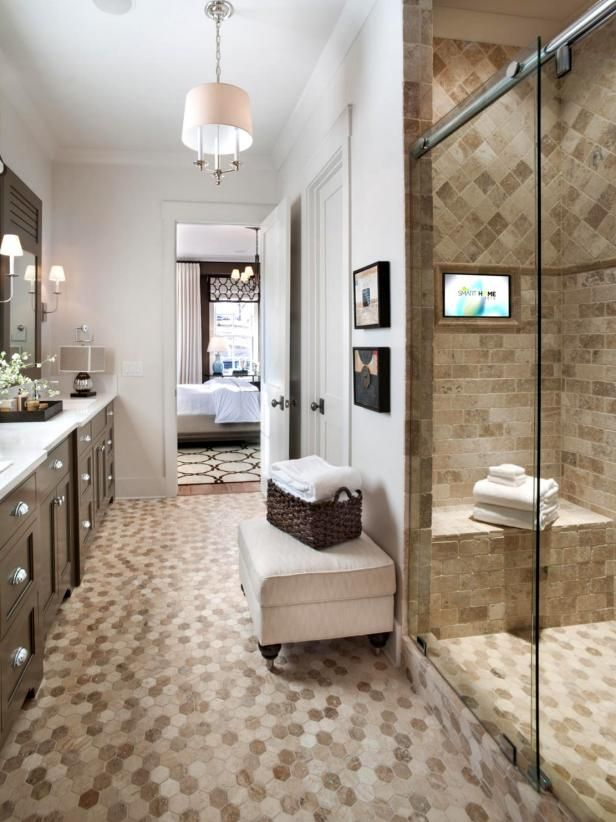 High tech showers are becoming the next big thing in bathroom remodels, and many people are starting by including plasma televisions in their showers. See it at diynetwork.com.