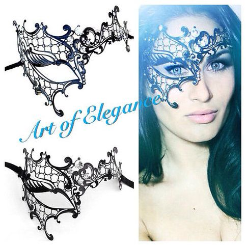 Phantom of the Opera Inspired Venetian Laser Cut Metal Half Face Masquerade Ball Lady Phantom Mask with Brilliant Cut Sparkling Rhinestones!  Handcrafted Venice Filigree Masks     HOSTING / ATTENDING an MASQUERADE EVENT?    ~ Mardi Gras ~ Wedding ~ Prom ~ Quinceanera ~  ~ Halloween ~ Bachelorette...