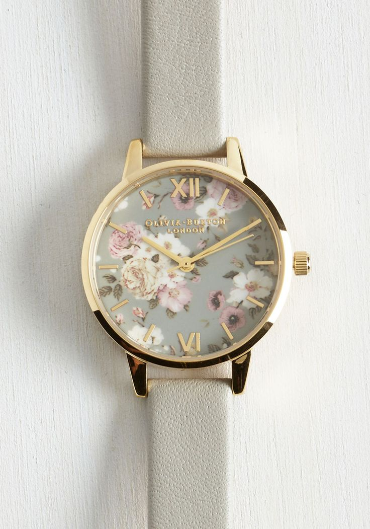 Yours, Mine, and Hours Watch. When asked for the time, youre always thrilled to share, for you're always sporting this Enchanted Garden watch by Olivia Burton! #grey #modcloth