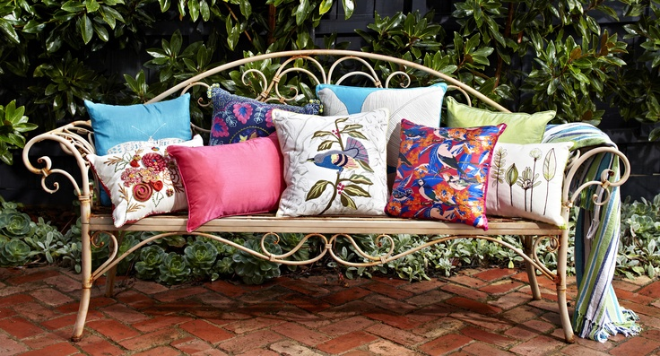 Decorate your outdoor space with cushions in bright florals and vibrant prints available from www.kushliving.com.au