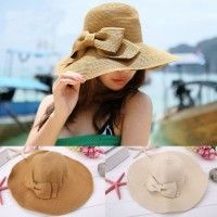 Plegable Wide Brim Bowknot decoración playa sombrero de paja Cap nueva moda femenina