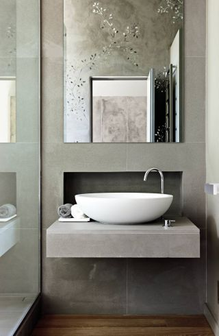 Contemporary Bathroom by Monica Mauti in London | architecturaldigest.com Photo by Andrew TwortBathroom Design, Powder Room, Guest Bathroom, Modern Bathroom, Contemporary Bathrooms, Master Bath, Bathroom Sinks, Bathroom Ideas, Grey Bathroom