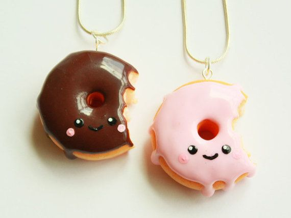 donut kawaii necklace,kawaii necklace,donut jewelry,kawaii polymer clay charms,mianiture food jewelry