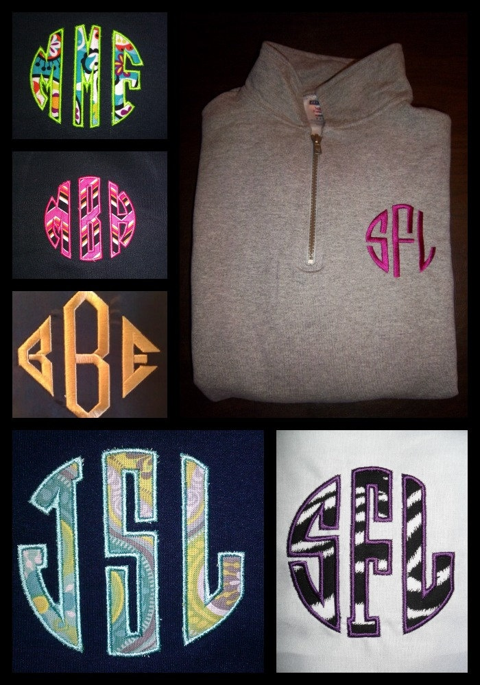 MONOGRAMMED PERSONALIZED GIFT quarter zip sweatshirt (Great Etsy)- i want one so bad!