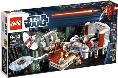 LEGO Star Wars Palpatine's Arrest (9526) Exclusive. Again a wonderful LEGO toy for ages 9-14.This fantastic recreation of the scene from Star Wars: Episode III Revenge of the Sith features detachable entrance with sliding doors, hidden Lightsaber, Sith lightning bolts, Mace Windu window catapult, Force jump lever, and detachable landing pad with Jedi airspeeder with opening cockpit and dual flick missiles.