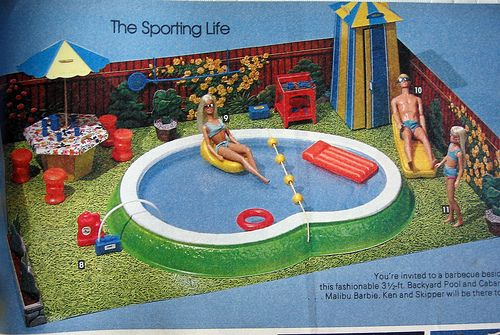 Barbie swimming pool! I had this and played with it hours on end. Such good memories. - Barbie Sears Christmas Catalog, 1981