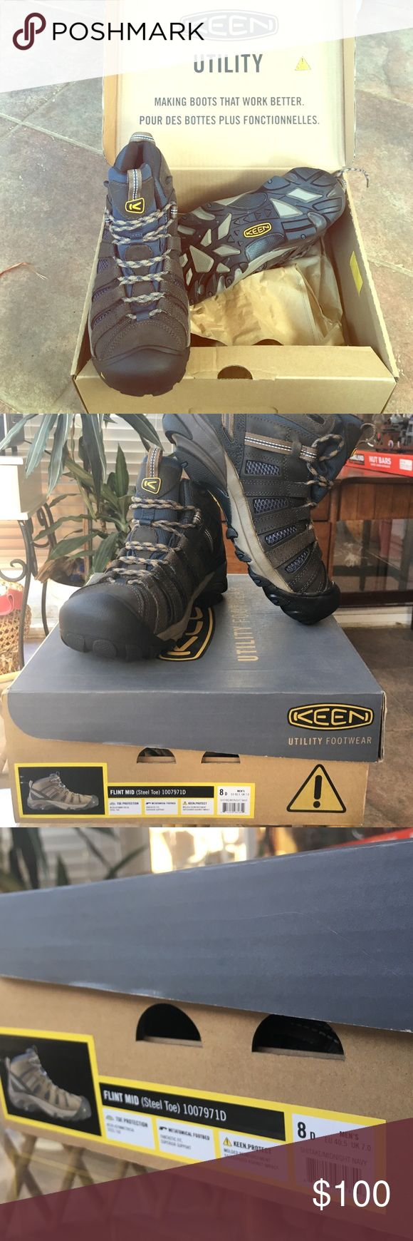 Keen Steel Toe: NIB💚🍀🐢 These Keen Flint Mid Steel Toe Boot Men's size 8 have never been worn. Thank you for shopping my closet today!💚🍀🐢 Keen Shoes Boots