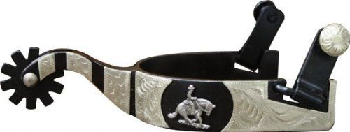 """(Product review for Showman Black Steel Spur with Reining Horse Overlay Rowel and Silver Acents Adult).   - Black steel spur with 1"""" band and 2.5"""" shank. Details are engraved silver accents and reining horse."""