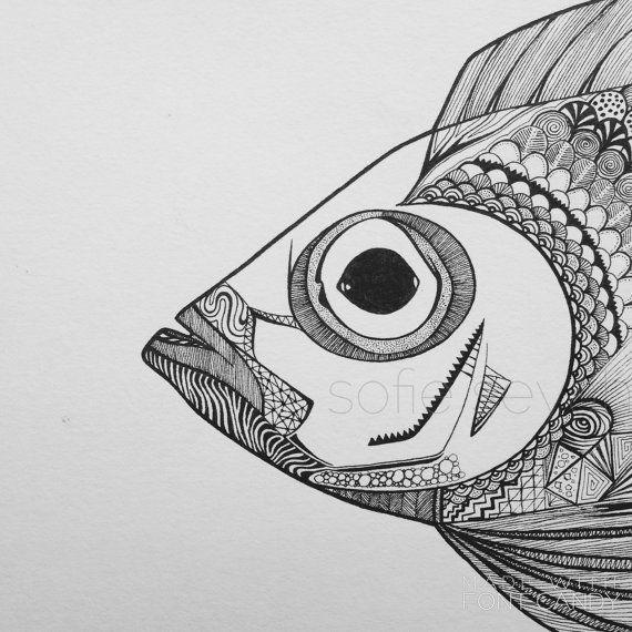 Bigeye Black and White Geometric Zentangle Fish Illustration by SofieSeyah