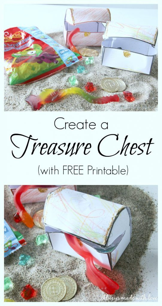 Your kids will have lots of fun with this simple Treasure Chest craft (free printable included)