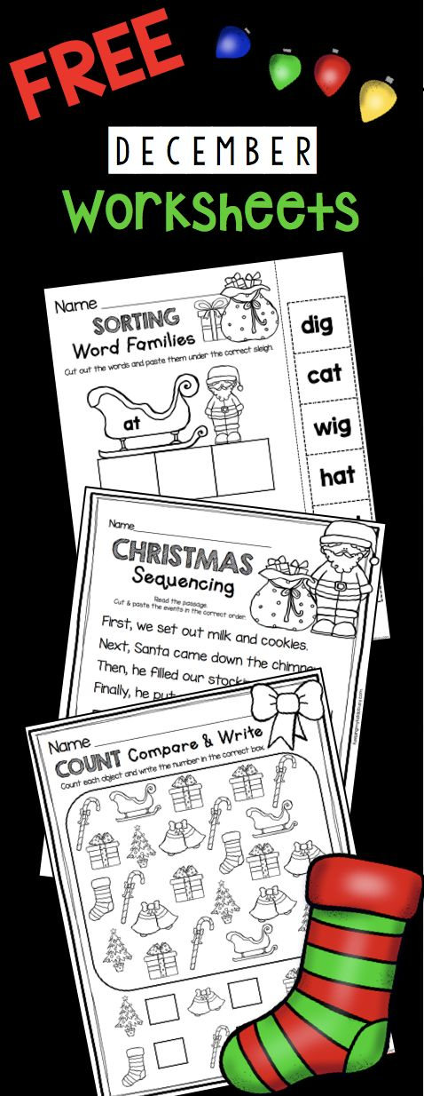 FREE math and literacy worksheets for December in Kindergarten - no prep for you!