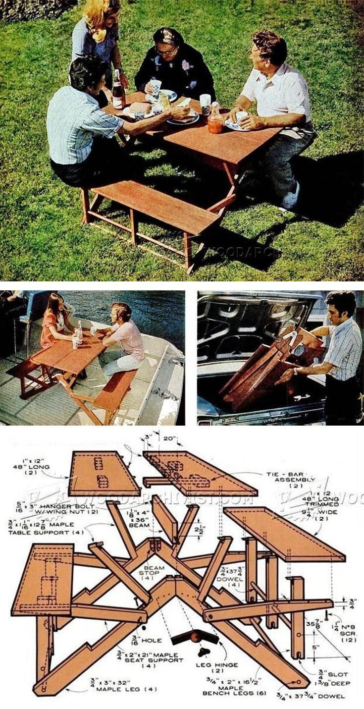 Folding Picnic Table Plans - Outdoor Furniture Plans and Projects | WoodArchivist.com