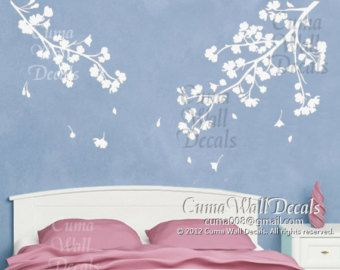 flower wall decals vinyl floral wall sticker branch nursery wall decals children- 2parts of branch with white cherry blossom Z119