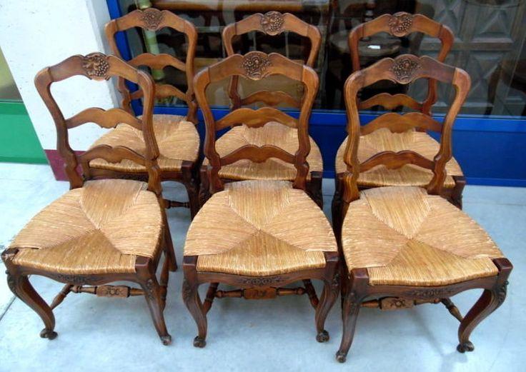 6 sedie provenzali in noce massello scolpite+++ con canestri e grappoli qualità