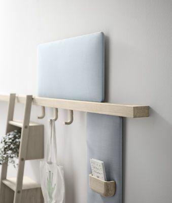 Rangement mural Zutik / 5 accessoires modulables - L 300 cm Bois / Corail & taupe - Alki