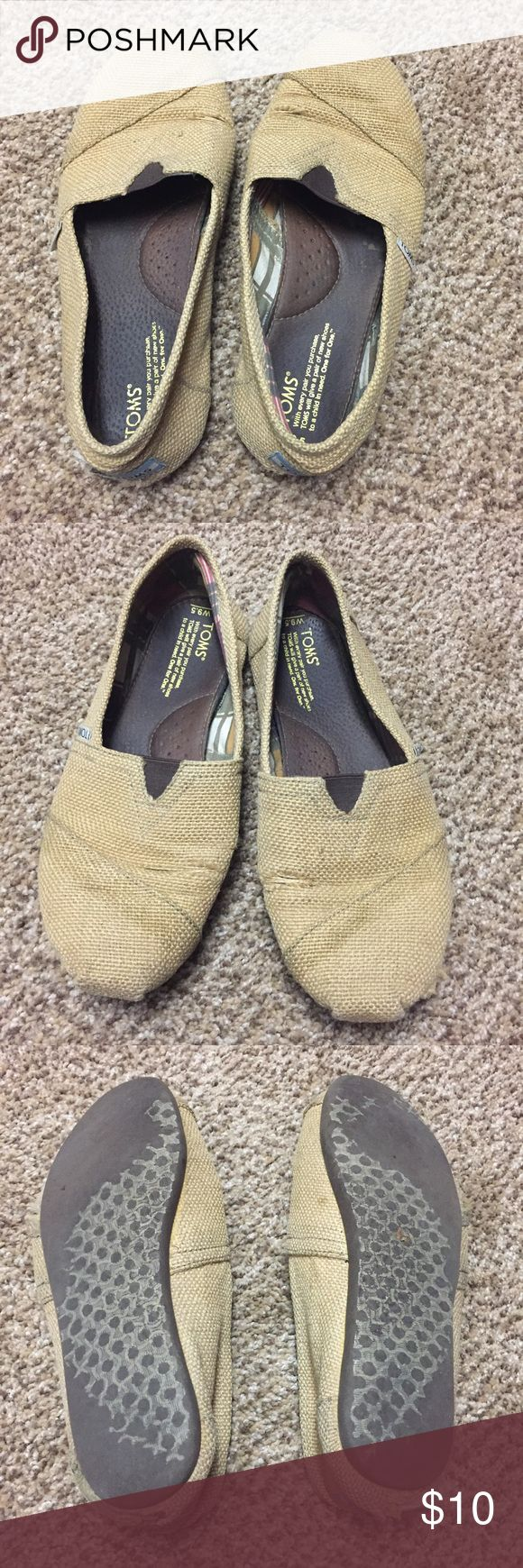 Burlap Toms Burlap Classic Toms - size 9.5 - lots of wear (see photos) Toms Shoes Flats & Loafers