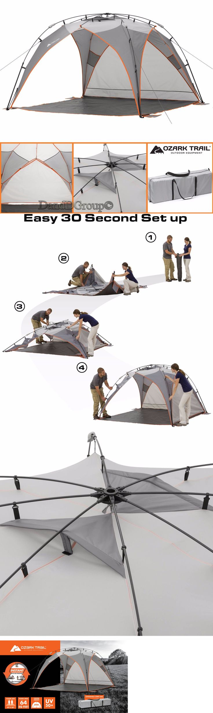 Canopies and Shelters 179011: Ozark Trail Sun Shade Tent 8 X8 Instant Portable Beach Outdoor Shelter Camping -> BUY IT NOW ONLY: $74.99 on eBay!