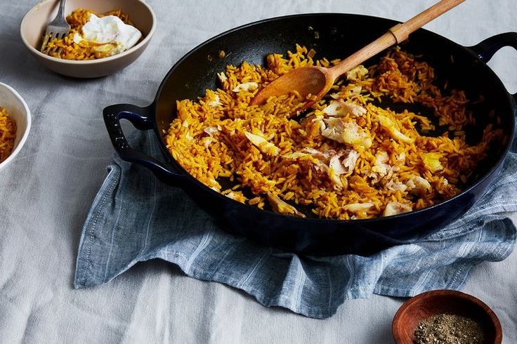 Scottish Kedgeree ; smoked haddock ; rice ; egg ; curry ; fish ; seafood ; savory breakfast
