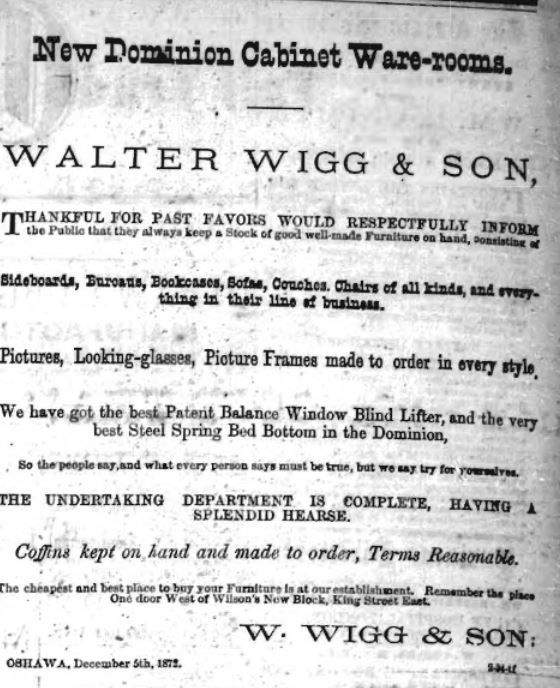 Advertisement from Dec 6, 1872
