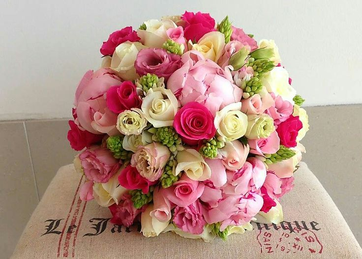 Round Wedding Bouquet Arranged With Pink Peonies Lisianthus Spray Roses