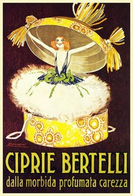 Ciprie Bertelli, 1921 poster for the Italian face powder, Scented Soft Caress, bursting out of its box