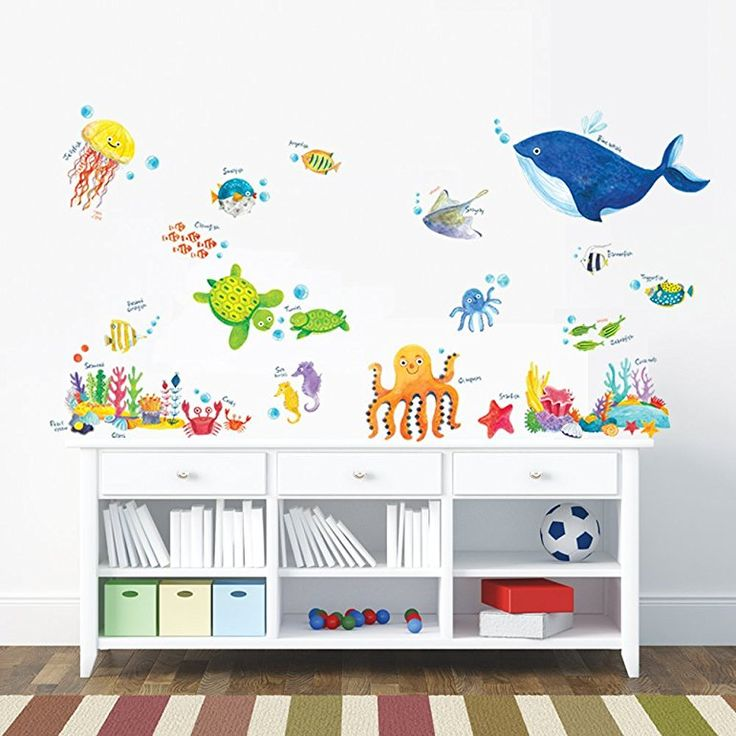 Decowall DW-1311 Under the Sea Kids Wall Stickers Wall Decals Peel and Stick Removable Wall Stickers for Kids Nursery Bedroom Living Room: Amazon.co.uk: Baby