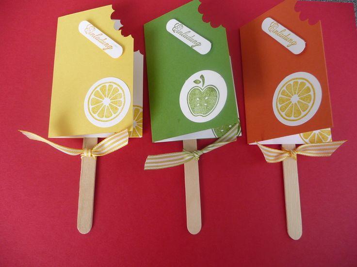 3   EINLADUNGSKARTEN ,Kindergeburtstag,Eiskarte von Schönes aus Stempel und Papier auf DaWanda.com
