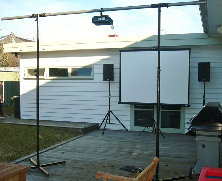 """""""Ceiling-mount"""" rig, you don't have to have the projector on a table top."""
