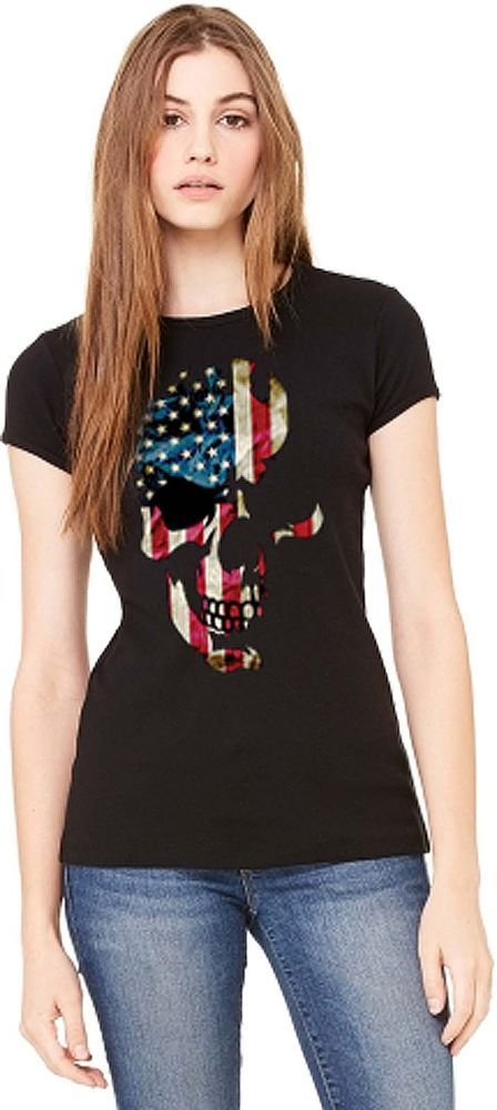 American Flag Skull Womens T Shirt Patriotic Distressed Ole Glory Free Shipping #PitStopShirtShop #GraphicTee