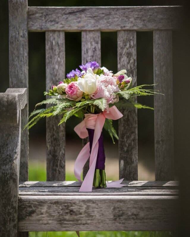 Anne Edgar photography - bridal bouquet - pinks, purples, ferns, roses, freesia - High Gloss Weddings - www.highglossweddings.com - weddings@highglossweddings.com