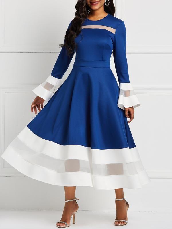 bedb8671158 Dekorhea Long Sleeve Mesh Round Neck Pullover Flare Sleeve A-Line Women  Dresses