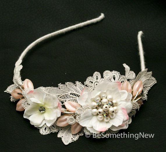 Vintage Lace, Pink Leaves and Petals Headband, Wedding Hair, Headpiece, Wedding Hair Accessory, Pink and Ivory Vintage Wedding Headpiece on Etsy, $120.00