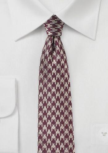 Krawatte Pepita-Dessin weinrot silbergrau
