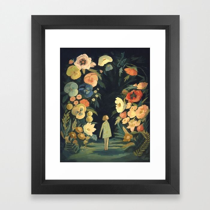 Frame Vector Black Size 10x12 The Night Garden Framed Art Print By Emilywinfieldmartinart Framed Art Prints Garden Frame Framed Art