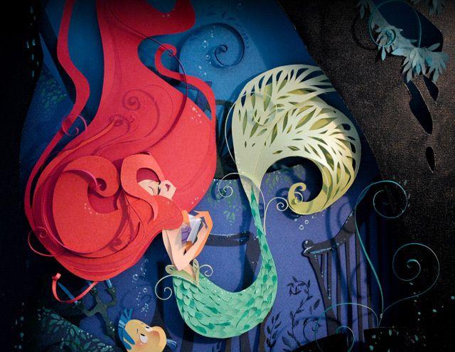 Brittney Lee Little Mermaid Paper Sculpted Canvas