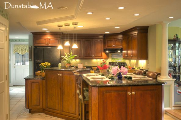 Cherry Wood Kitchen Multi Level Island To Separate Task