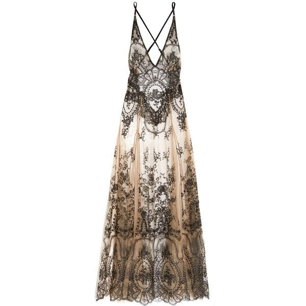 I.D. Sarrieri Embroidered tulle chemise ($985) found on Polyvore featuring women's fashion, dresses, lingerie, gowns, long dresses and one piece
