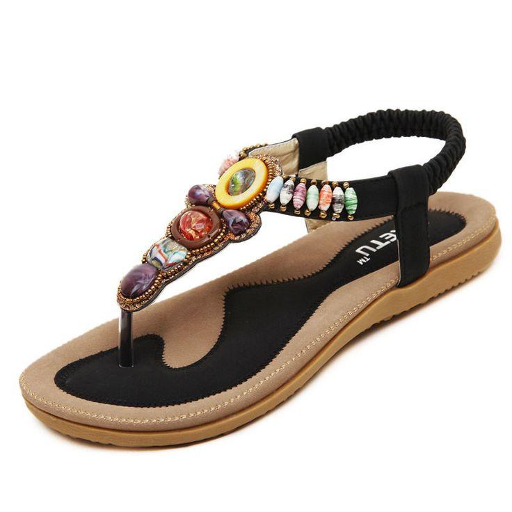 Woman Shoes Simple Flip Flops Korean Style Bohemia Beaded Soft Girl Flat Sandals | eBay