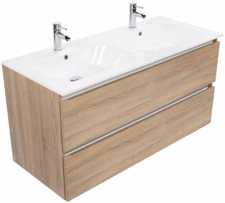 Complete meubelset in Bardolino eiken, met dubbele keramische wastafel, inclusief sifon en afvoerplug (excl. kranen). Greeploos design met aluminium greeplijst. Het Saqu Gaia heeft een hoogte van 61,6 cm en een diepte van 50,5 cm.