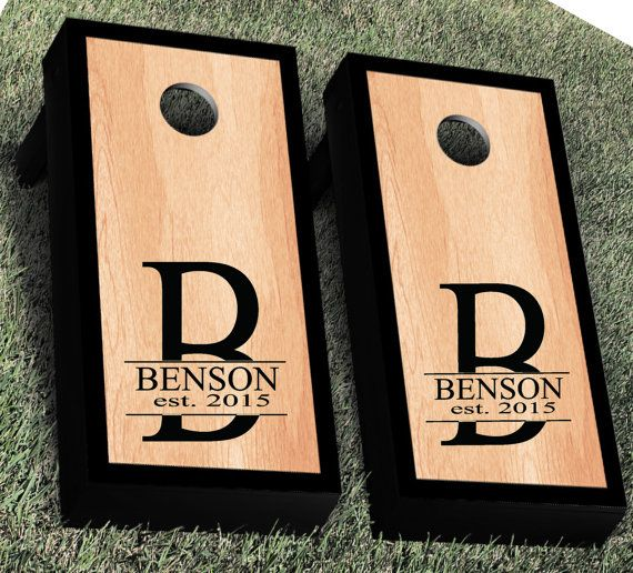 Monogram Cornhole Decal | Set of 2 | Personalized CornHole Sticker | Wedding Cornhole Decal | Wedding Decal | Corn Hole Decal