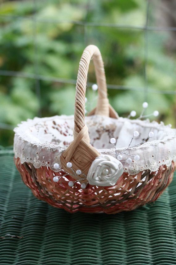 Rustic Flower Girl Basket with vintage ivory by BurlapandButter, $17.00