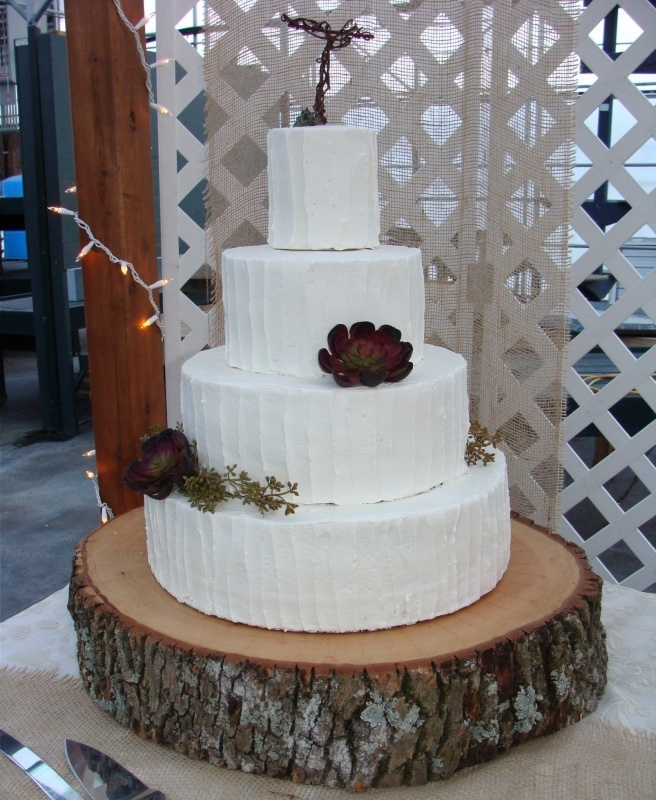 Wedding cake on wood for a rustic feel. Decorated with succulents.